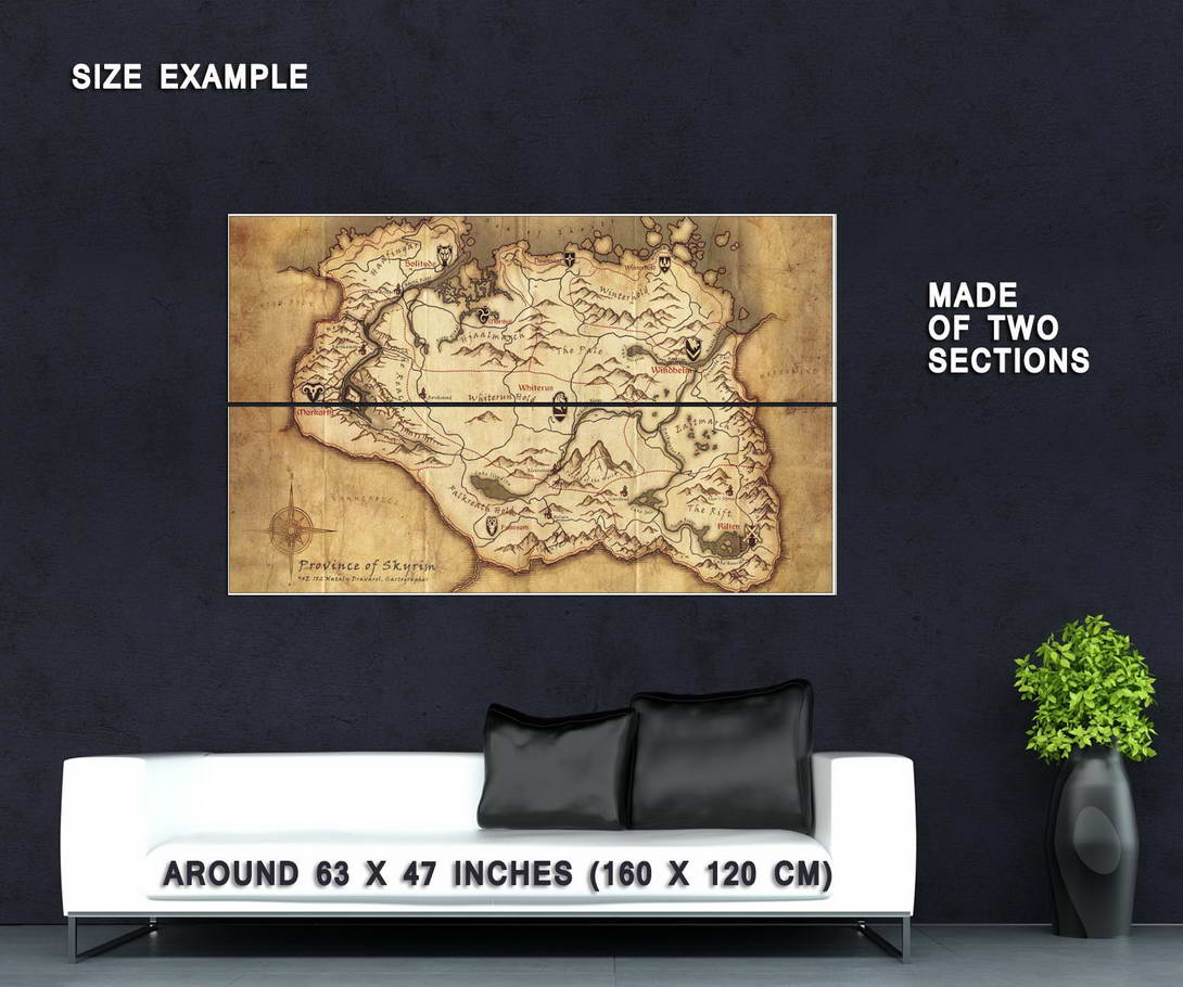 62918 Skyrim Elder Scrolls Map Decor Wall Print Poster | eBay