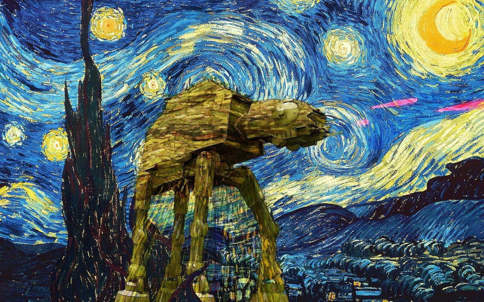 00146 STAR WARS AND VAN GOGH STARRY NIGHT ART IMAGE Poster Print | eBay