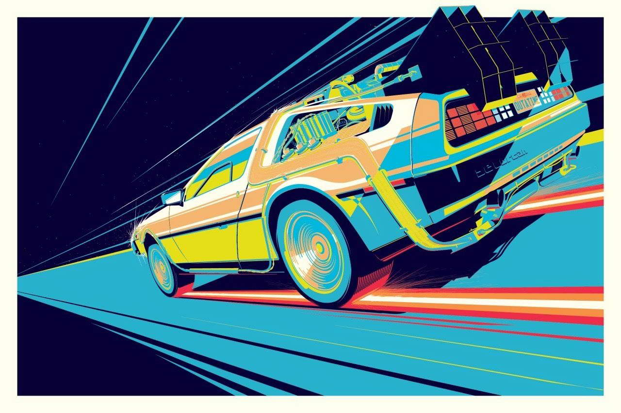 Delorean DMC-12 Time Travel Machine Back To The Future Poster Laminated