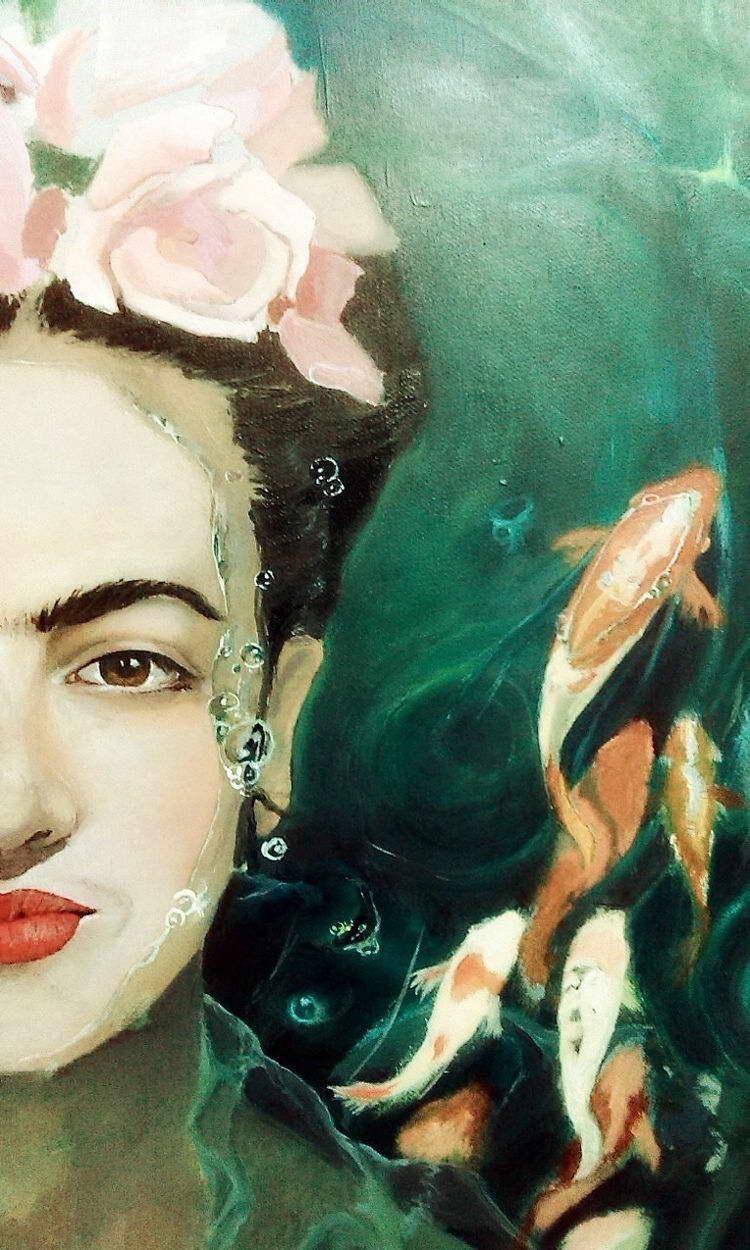 Frida Kahlo Fish Art Image Poster Gloss Laminated