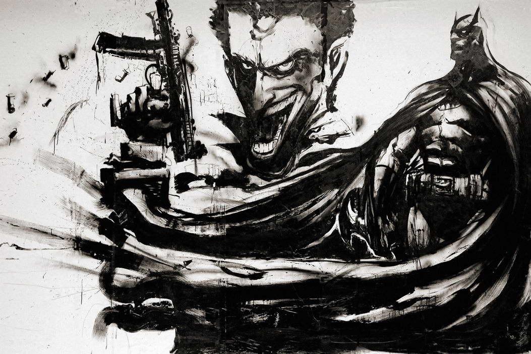 09064 batman joker art black white print poster