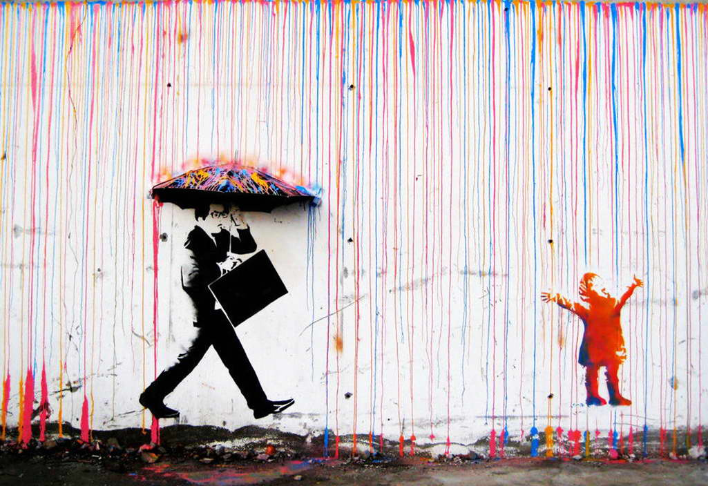 10935 banksy coloured rain bild street art poster print ebay. Black Bedroom Furniture Sets. Home Design Ideas