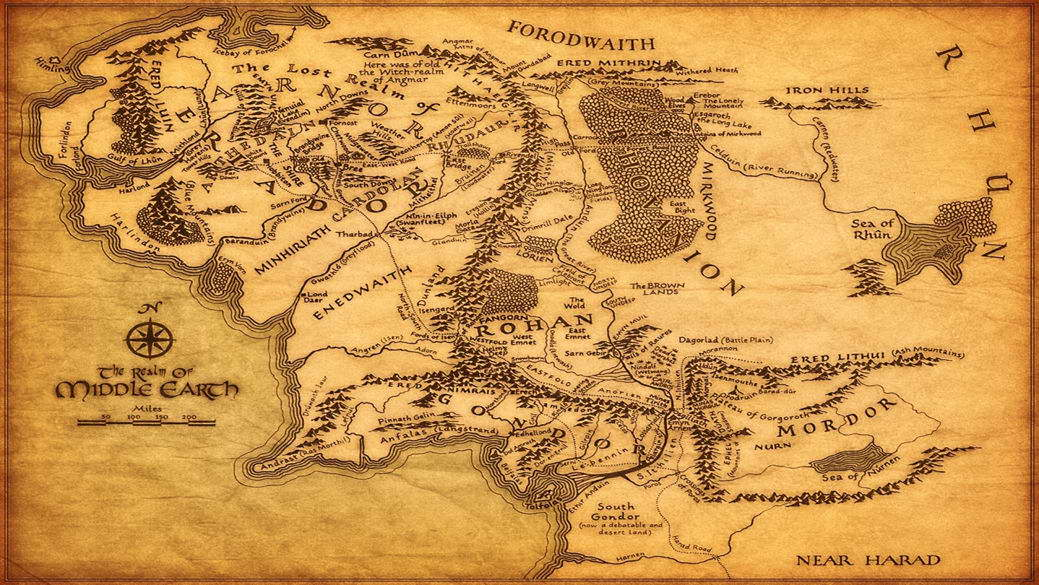 image is loading 14250 map of middle earth the lord of