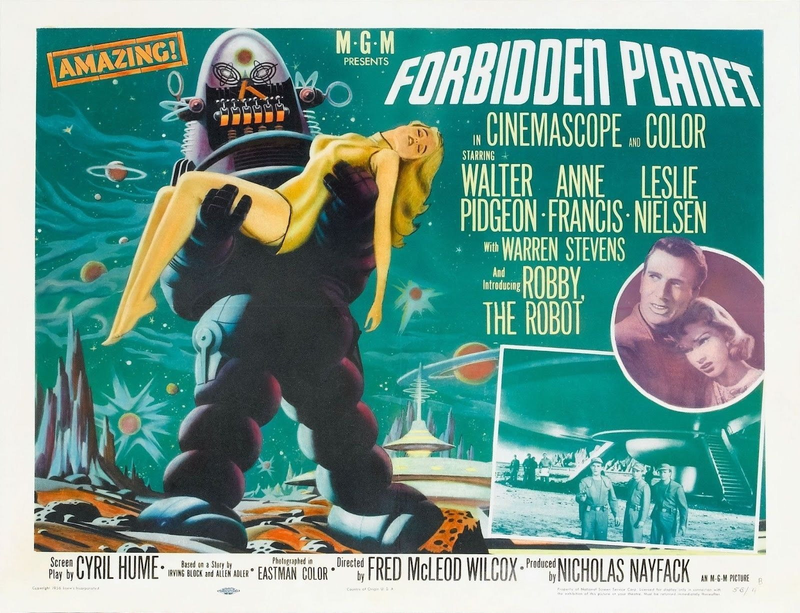 63417-FORBIDDEN-PLANET-Rare-50-039-s-Horror-Sci-Fi-Wall-Print-Poster-Affiche