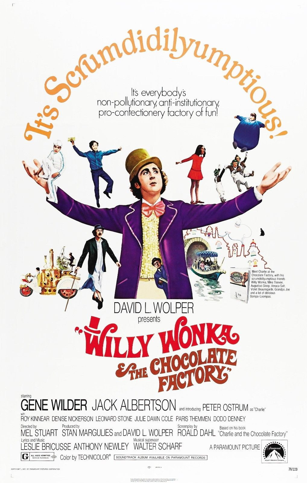 72326 WILLY WONKA AND THE CHOCOLATE FACTORY Movie Gene Wall Print Poster Affiche