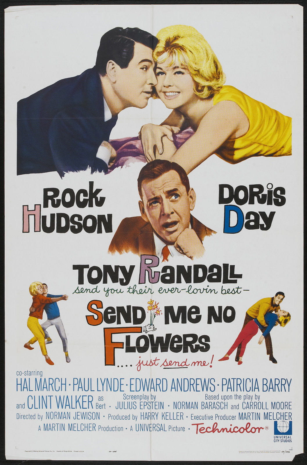 72610 SEND ME NO FLOWERS Movie Doris Day Rock Hudson Wall Print Poster Affiche