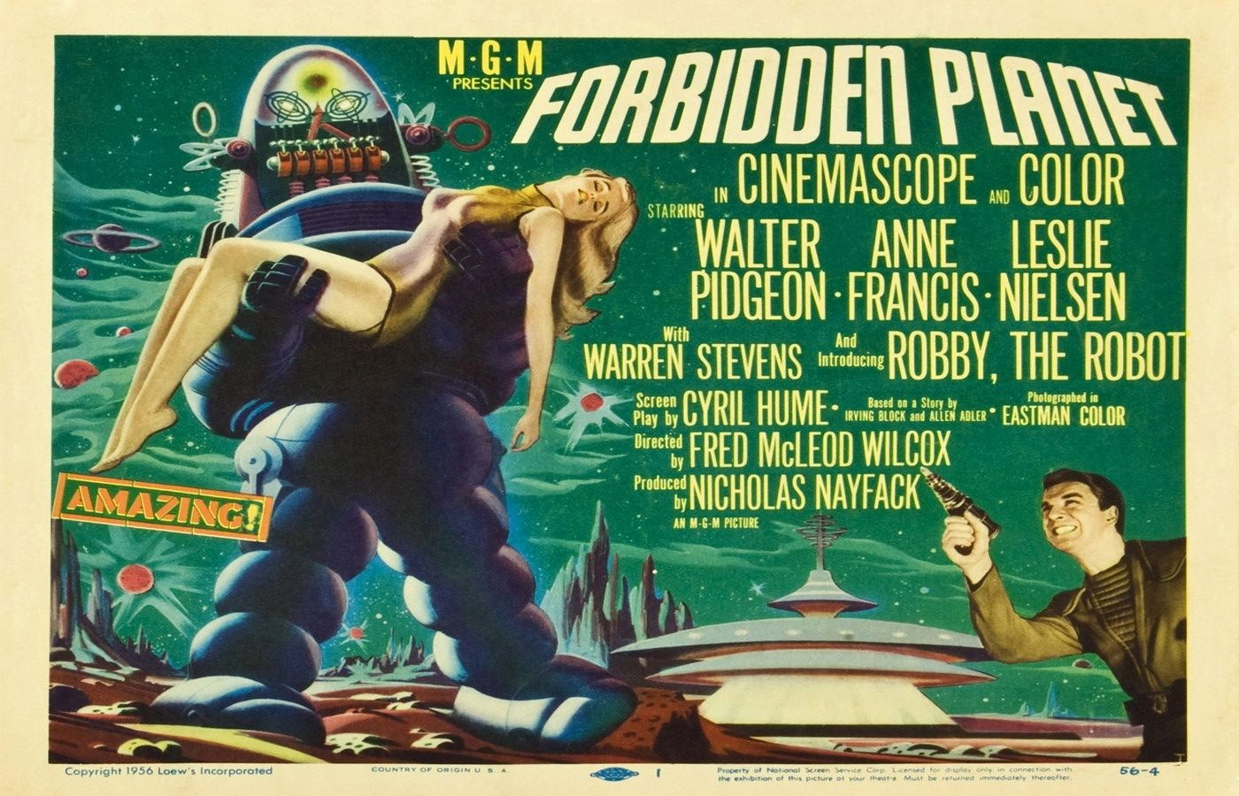 72965-FORBIDDEN-PLANET-Movie-Rare-50-039-s-Horror-Wall-Print-Poster-Affiche