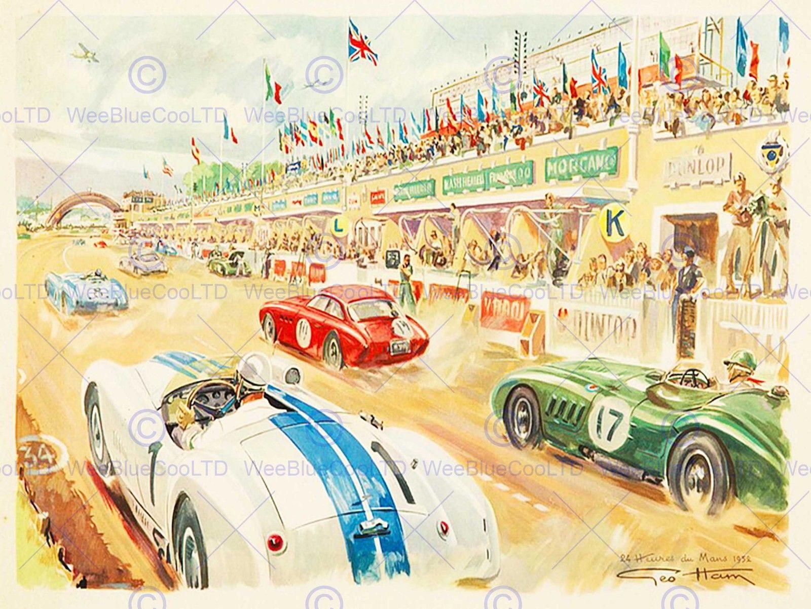 85497 SPORT LE MANS MOTOR RACE 1952 STAND CAR Decor WALL PRINT ...