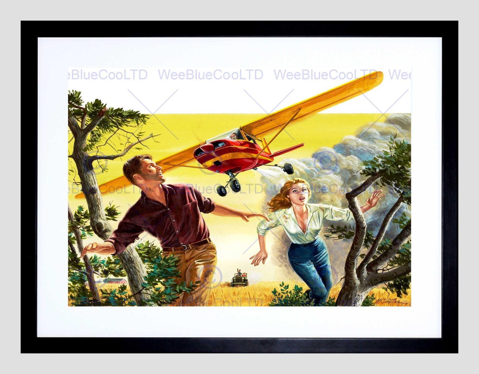 85808 FANTASY CROP DUSTING PLANE RUNNING COUPLE WEIRD Decor WALL ...