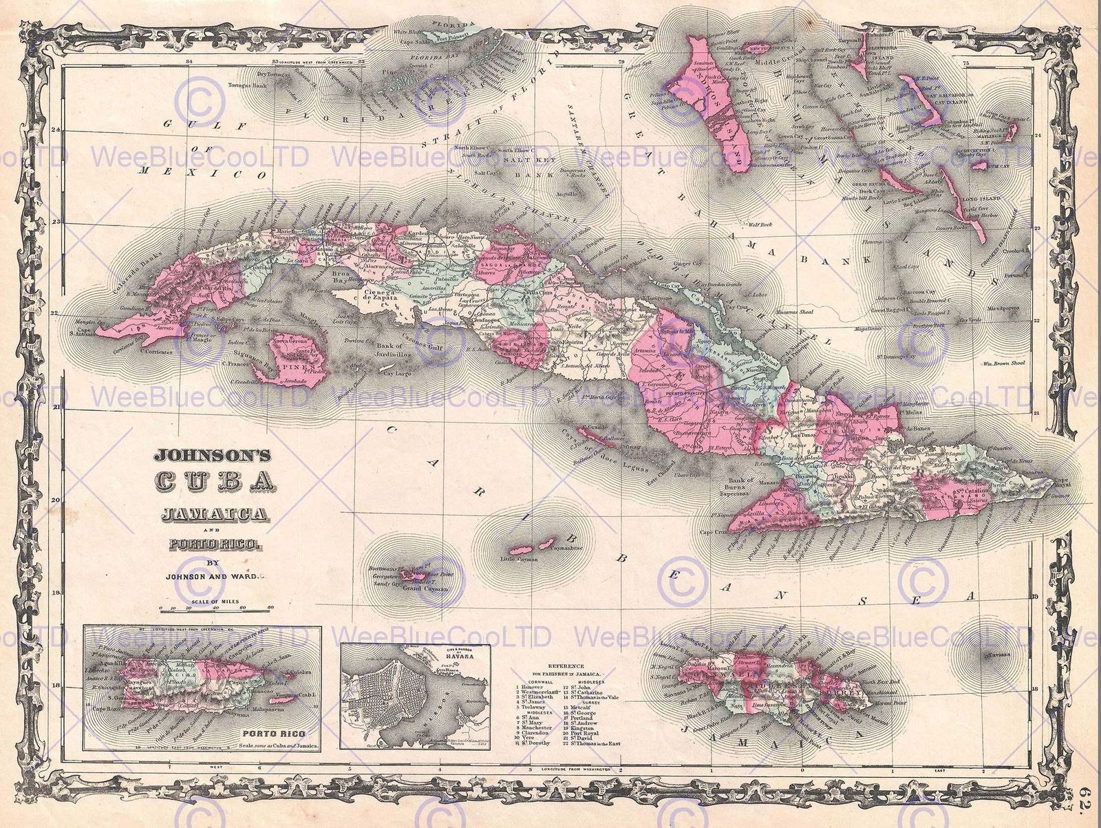 JOHNSON MAP CUBA AND PORTO RICO VINTAGE Decor WALL PRINT - Vintage map of cuba