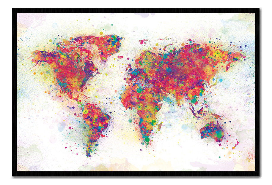 89684 world map colour splash cork pin with pins decor wall print image is loading 89684 world map colour splash cork pin with gumiabroncs Choice Image