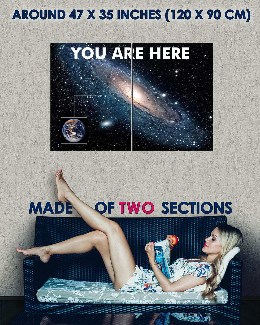 107731 You Are Here Galaxy Retro Solar System Decor WALL PRINT POSTER FR