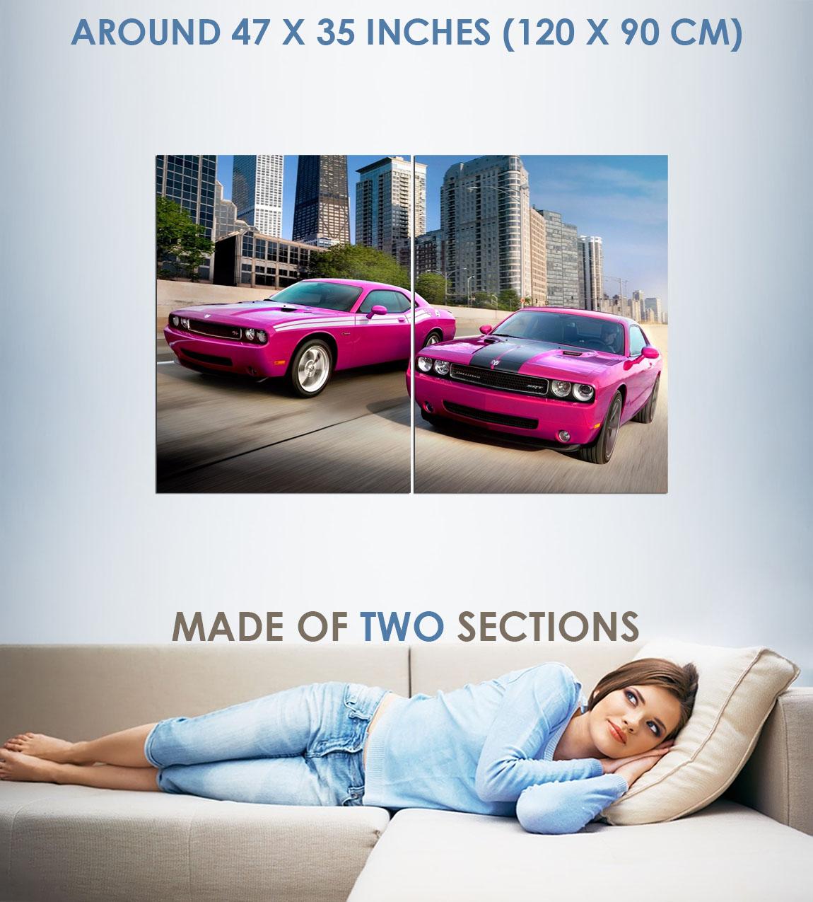 129149 Dodge Power Pink car Matte Decor WALL PRINT POSTER US
