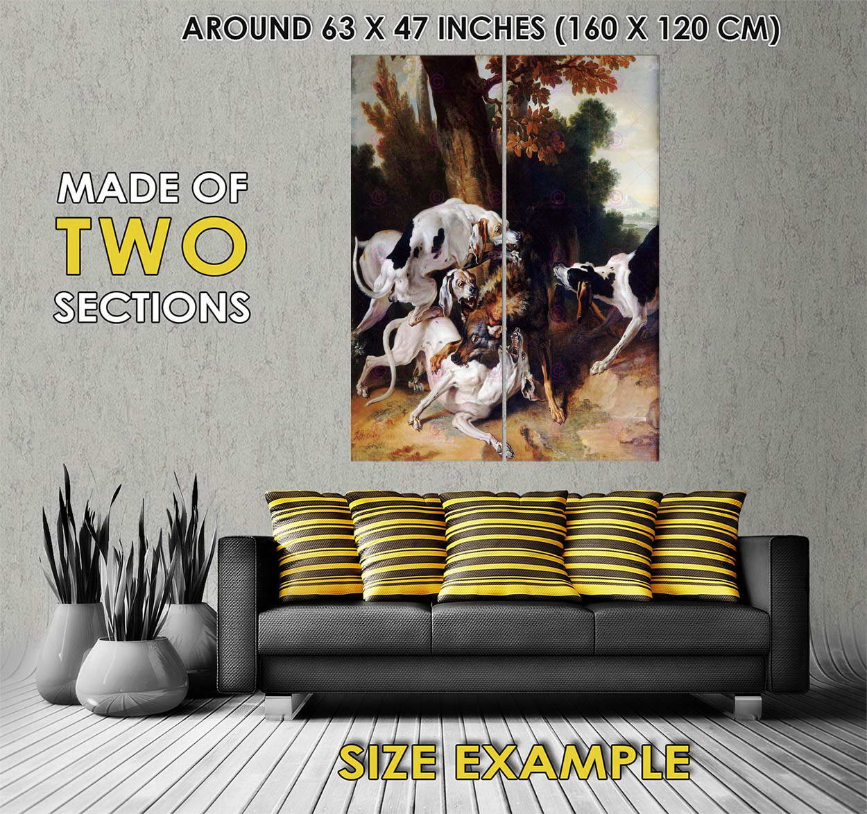 113329 PAINTING EXTERIOR STUDY OUDRY WOLF HUNT LARGE Decor WALL PRINT POSTER FR