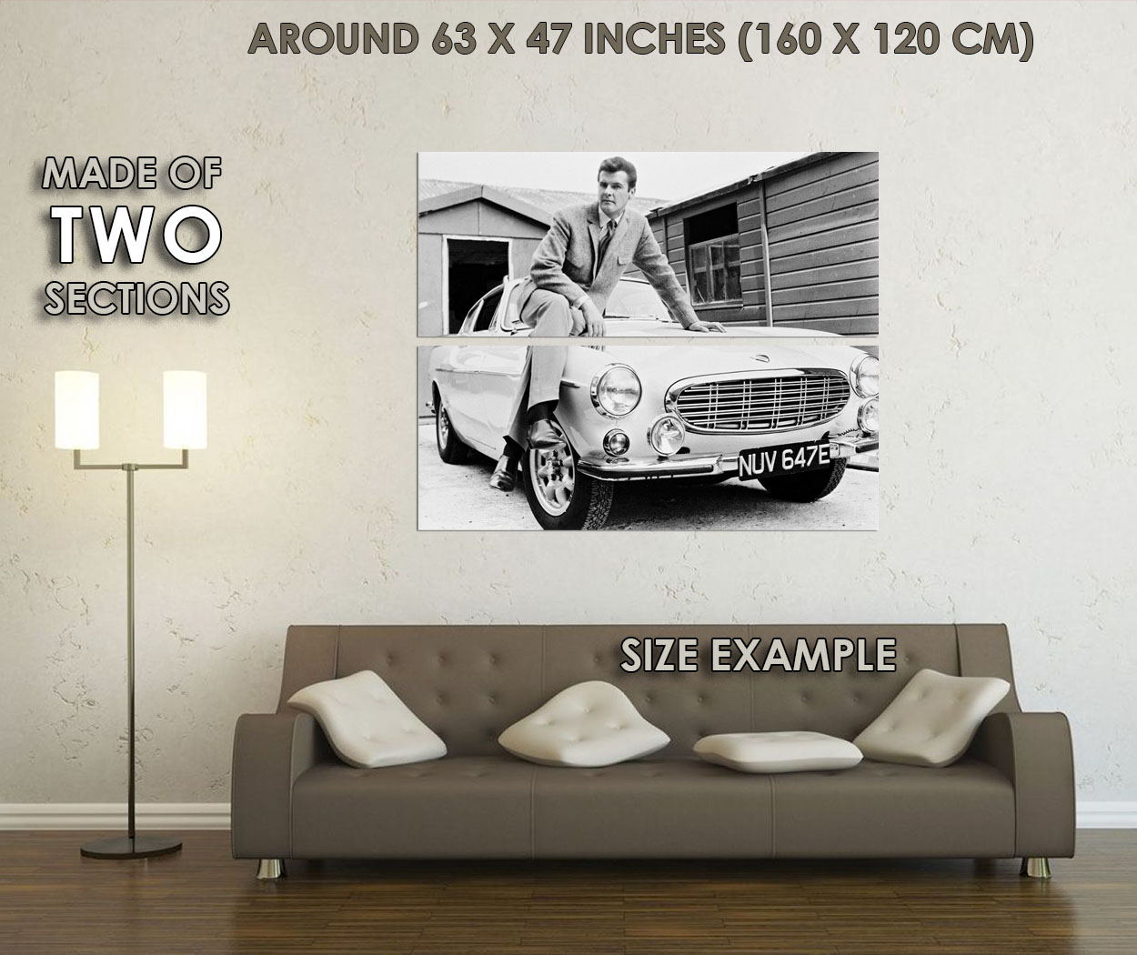 235140 Roger Moore The Saint Sitting On Volvo WALL PRINT POSTER CA