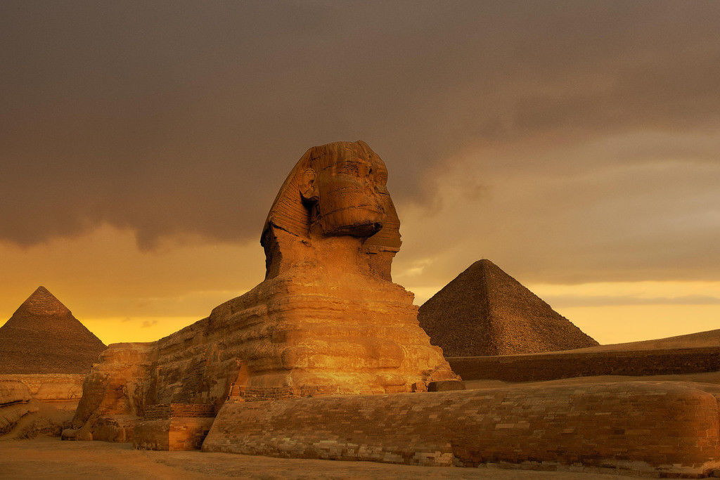 101171-Sunset-at-the-Sphinx-and-Pyramid-Complex-Giza-Decor-WALL-PRINT-POSTER-FR