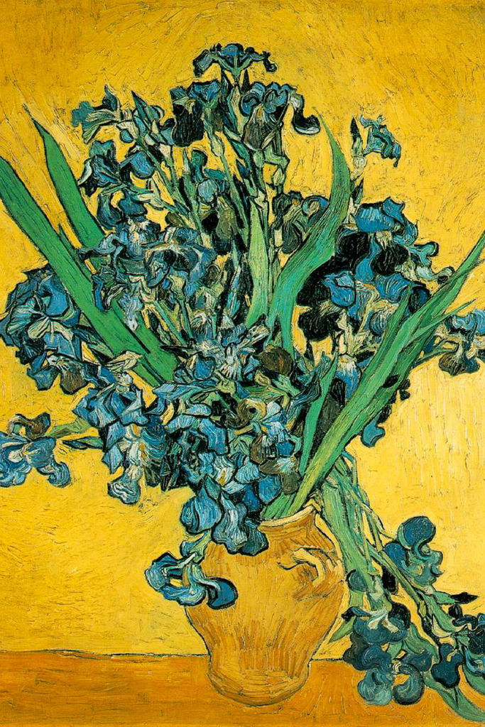 104657 Vincent Van Gogh Vase With Irises Against Yellow Wall Print
