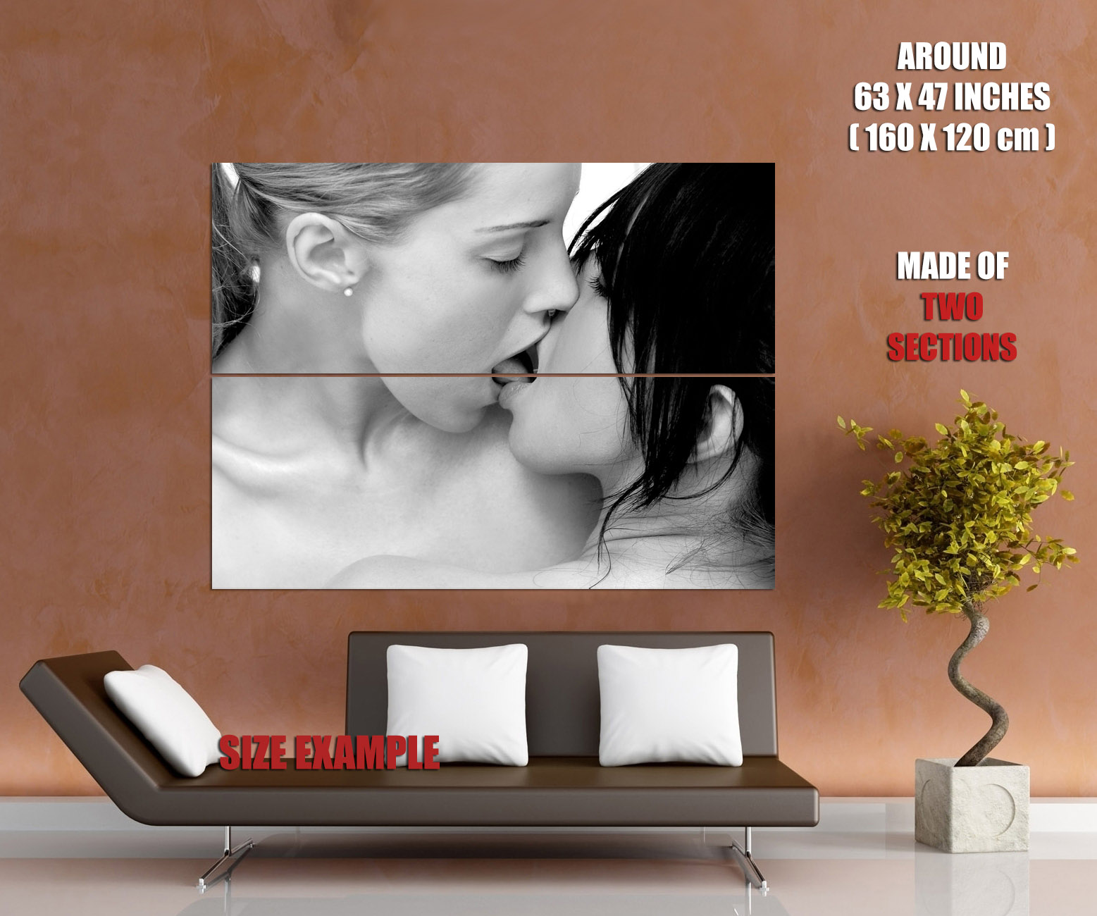 D3743 Hot Kissing Girls Tongue BW Lesbian Gigantic Print POSTER