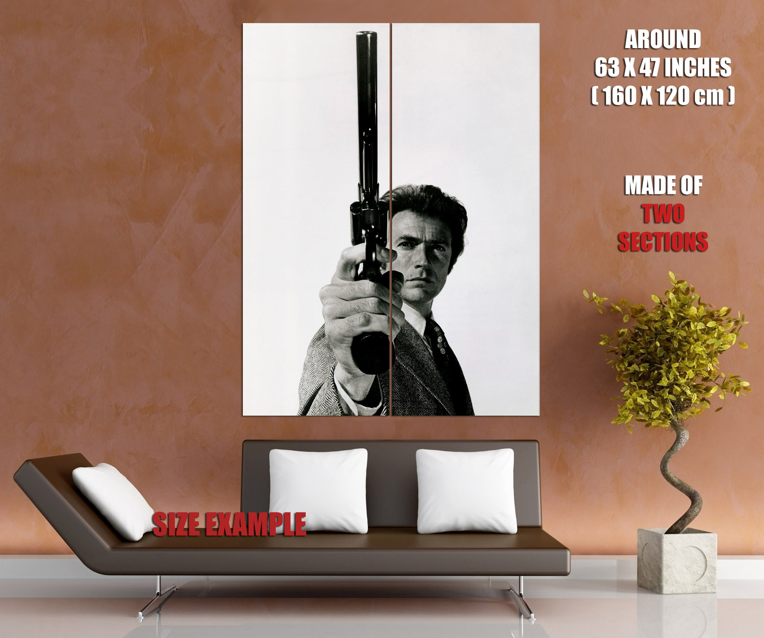D6154 Magnum .44 Dirty Harry Callahan Clint Eastwood BW Movie Print POSTER