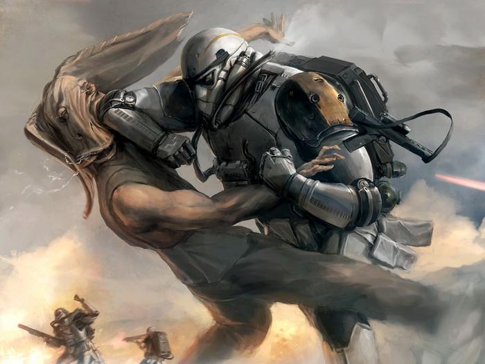 D1413 Clone Trooper vs Jar Binks Star Wars Gigantic Print POSTER