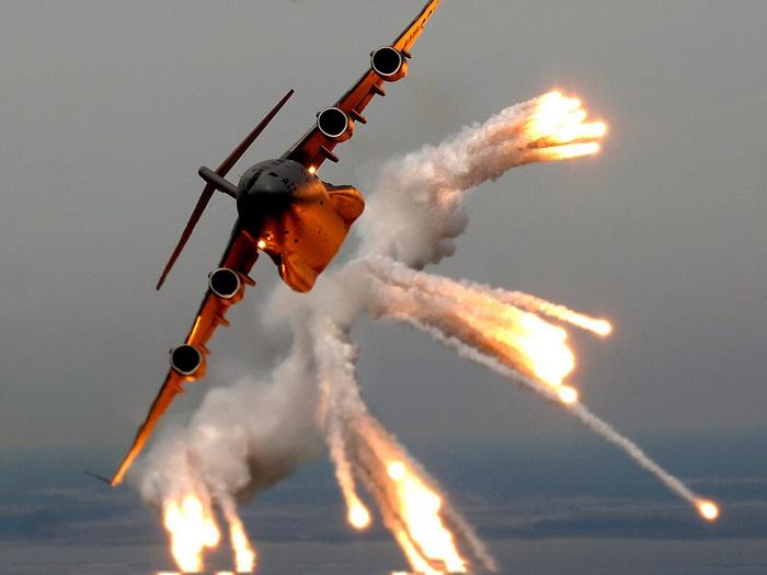 D2062 Heavy Aircraft Flares Smoke Gigantic Print POSTER
