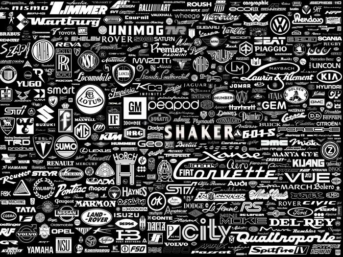 D8371 Car Logos Badges Collage Black Gigantic Print POSTER