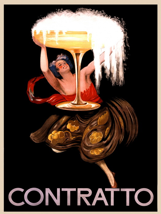 Contratto Champagne Painting Vintage Classic Print POSTER Plakat