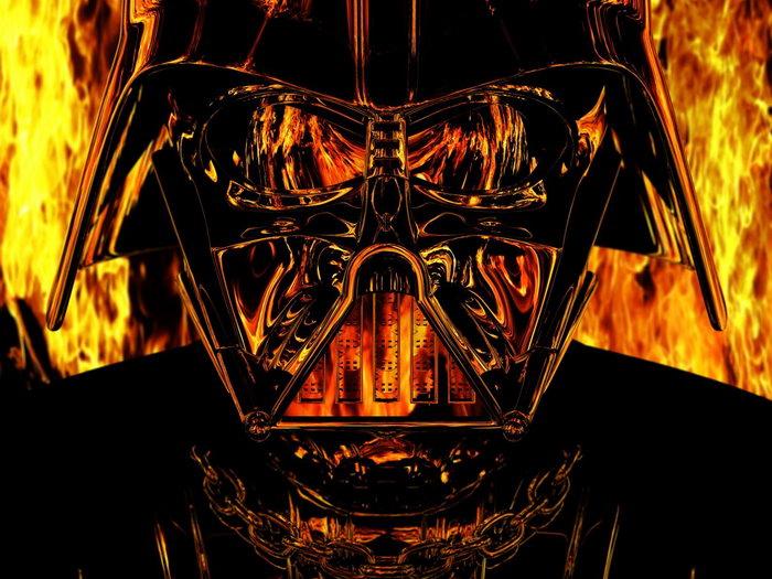 Darth Vader Mask Fire Flames Star Wars Art Huge Giant Print POSTER Plakat