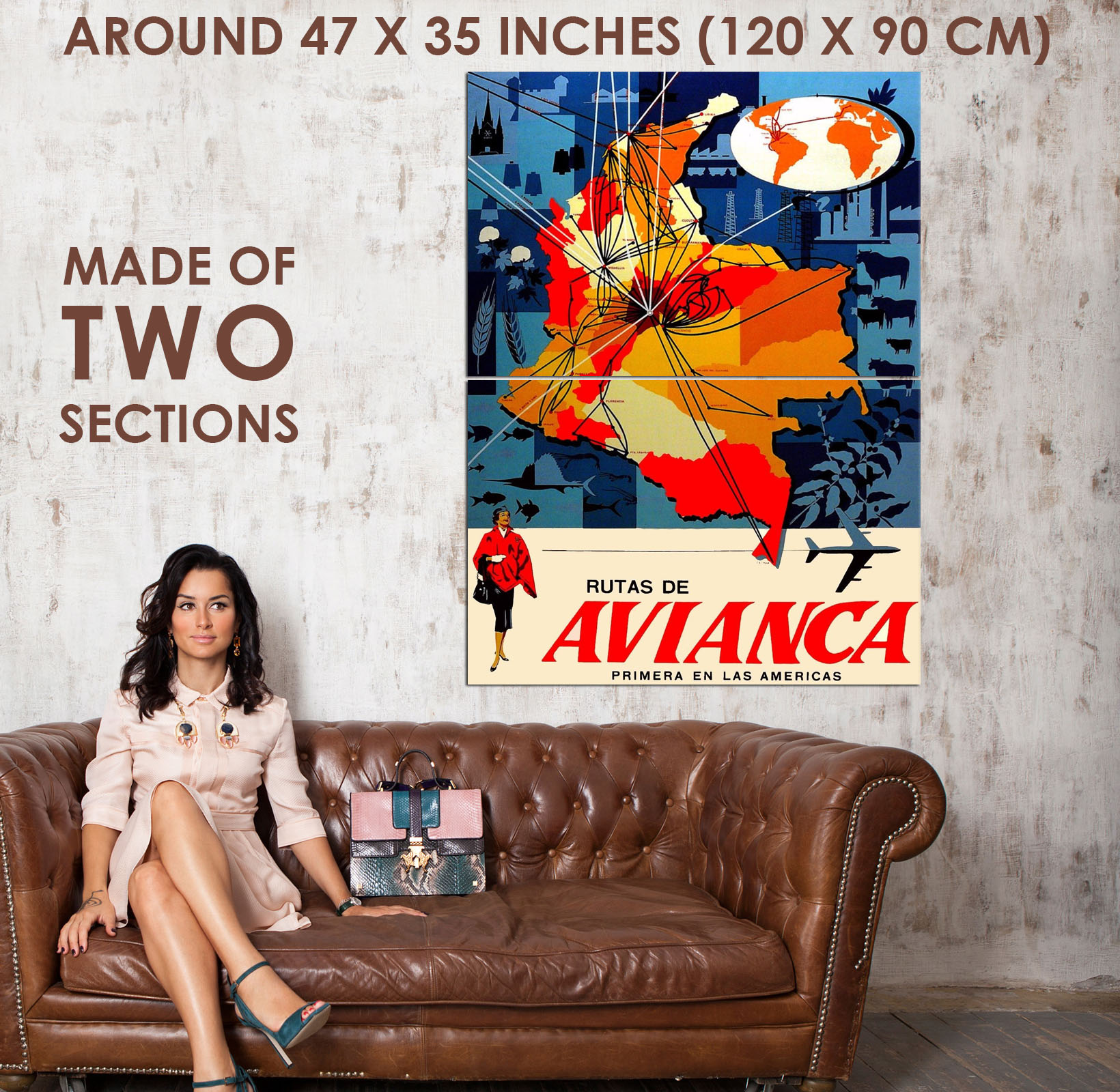 94376-Colombia-Colombian-South-America-Avianca-Map-Decor-WALL-PRINT-POSTER-AU