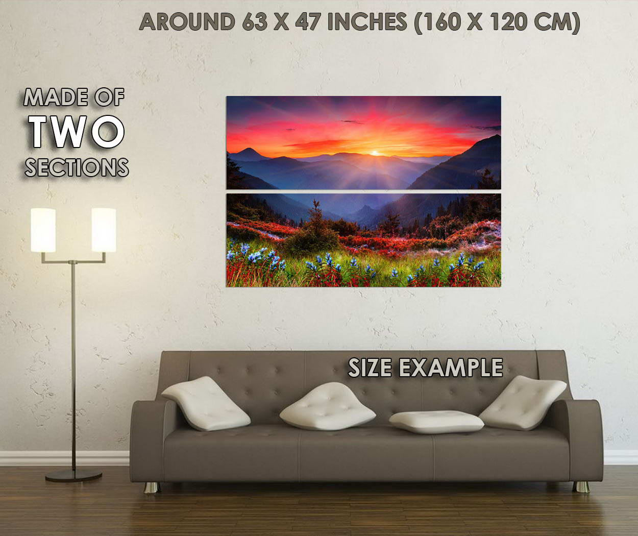 09915 Morning Sunrise - Mountains And And And Flowers Nature Art Poster AFFICHE 73d995