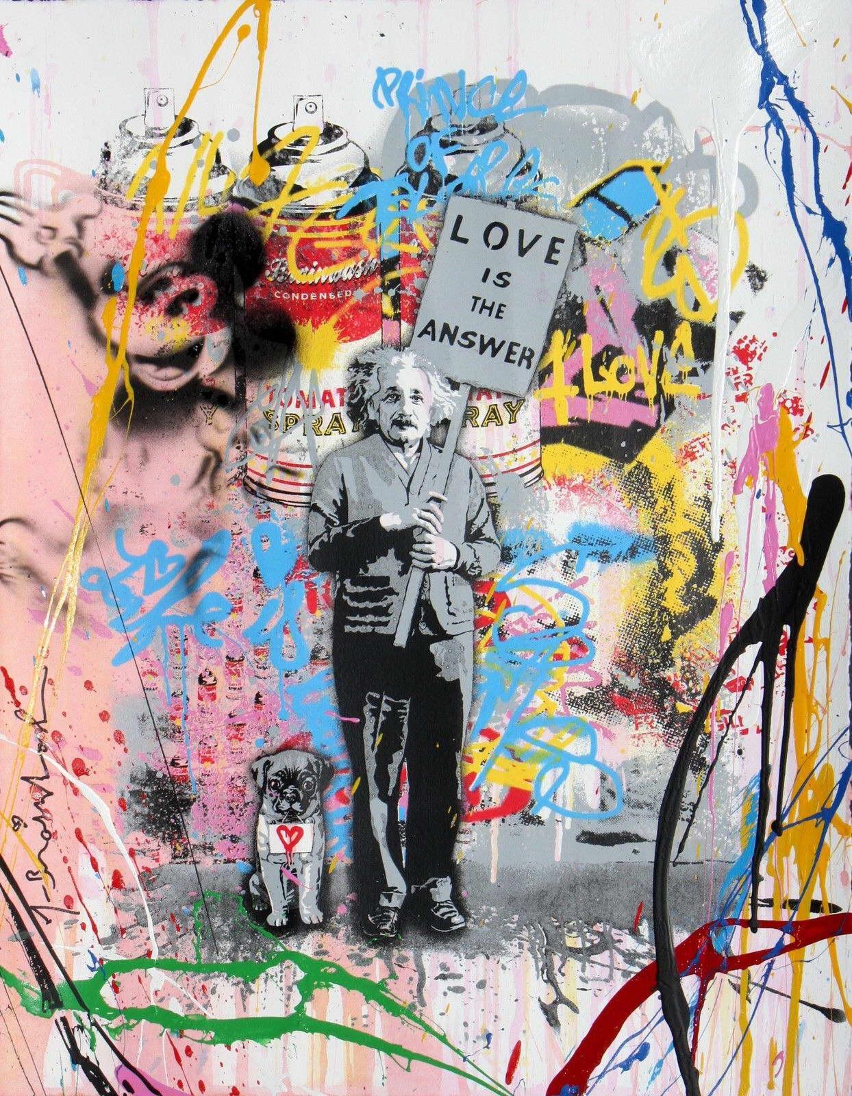 "00393 ALBERT EINSTEIN ""LOVE IS THE ANSWER"" BANKSY MR BRAIN IMAGE Print Poster"
