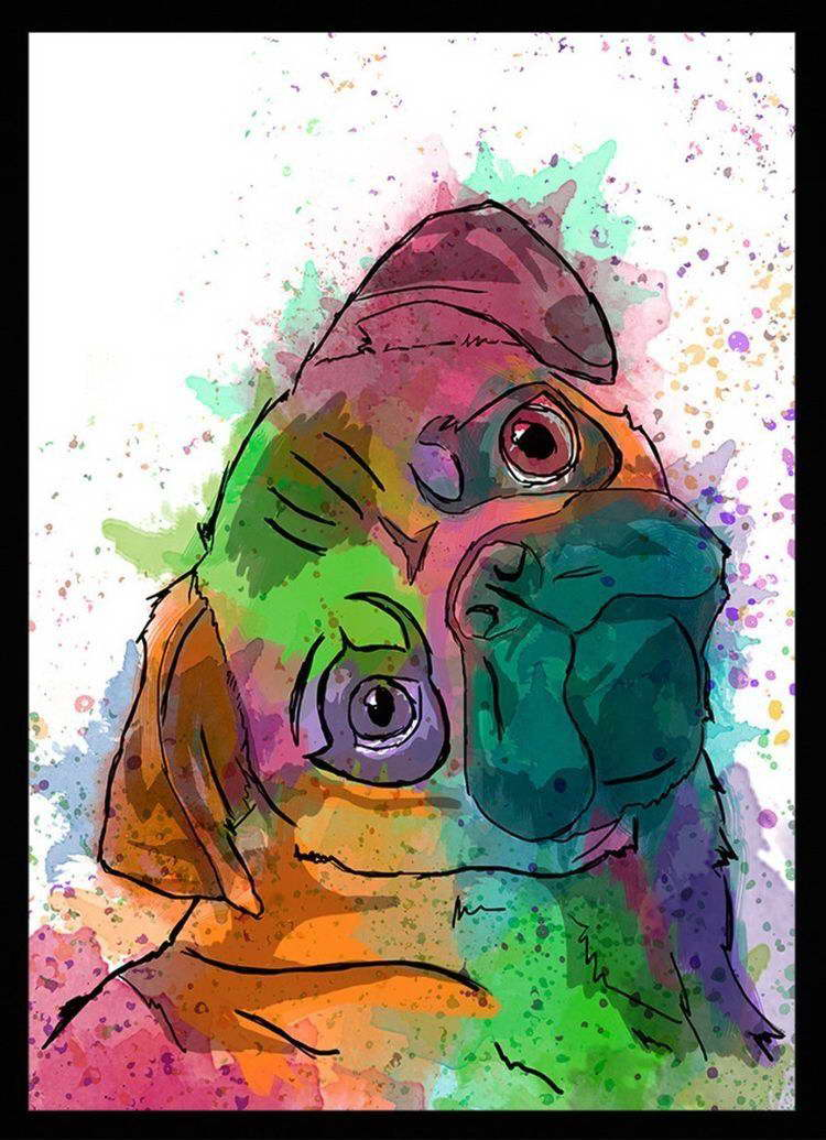 00794 PSYCHEDELIC PUG DOG WATERCOLOUR ART IMAGE Wall Print POSTER CA