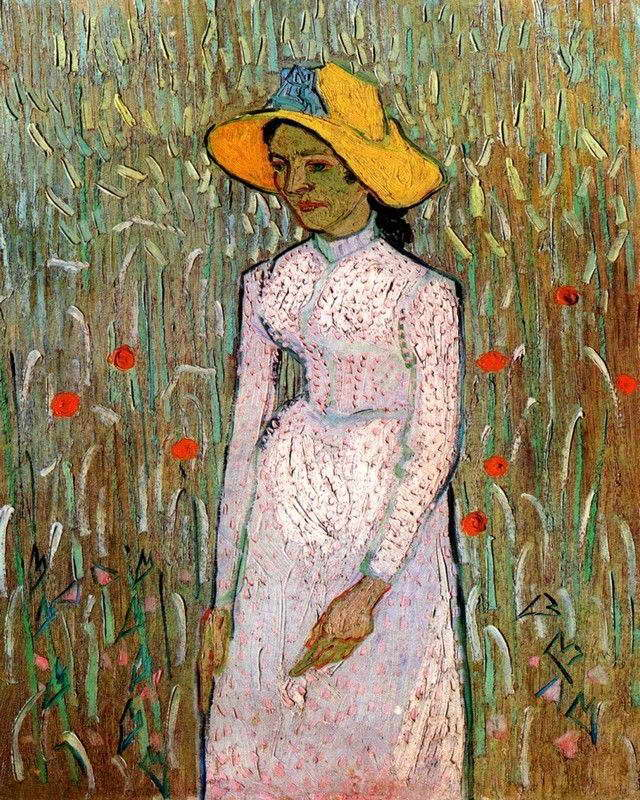 07172 VAN GOGH YOUNG GIRL STANDING AGAINST A BACKGROUND OF WHEAT PRINT