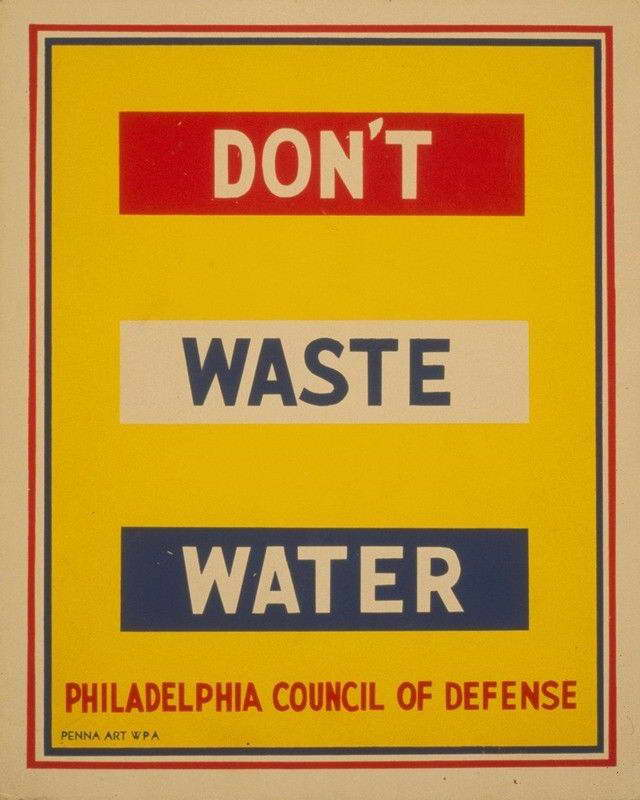 07579 DONT WASTE WATER PHILADELPHIA WPA ART Wall Print POSTER AU