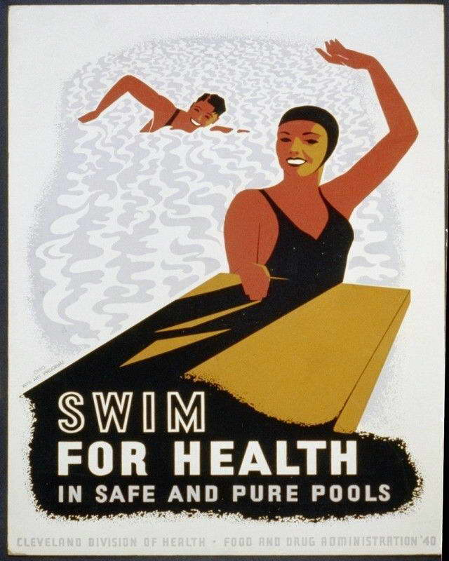 08911 SWIMS FOR HEALTH IN POOLS WPA ART Wall Print POSTER CA