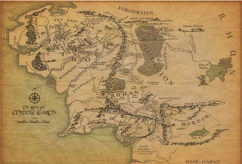 09838 The Lord of the Rings Movie Map of Middle Earth Wall Print POSTER AU