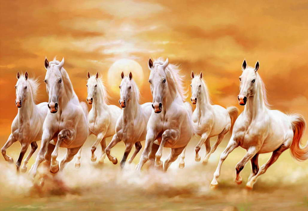 11933 bianca Horses Galloping Sunset Landscape Wall Print POSTER US