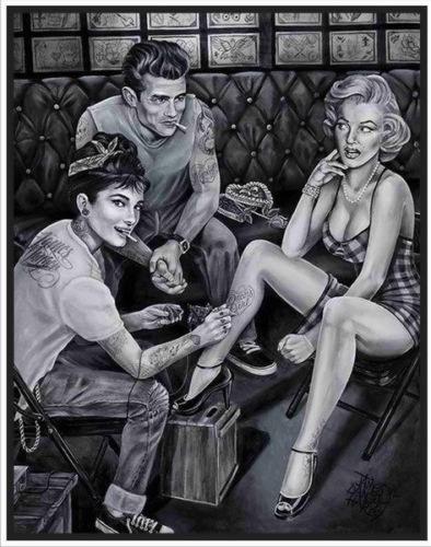 61080 Marilyn Monroe & Audrey Hepburn - Tattoo FRAMED CANVAS PRINT AU