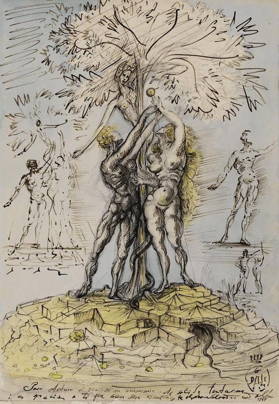 62033-Salvador-Dali-Adam-et-Eve-Giclee-FRAMED-CANVAS-PRINT-Toile