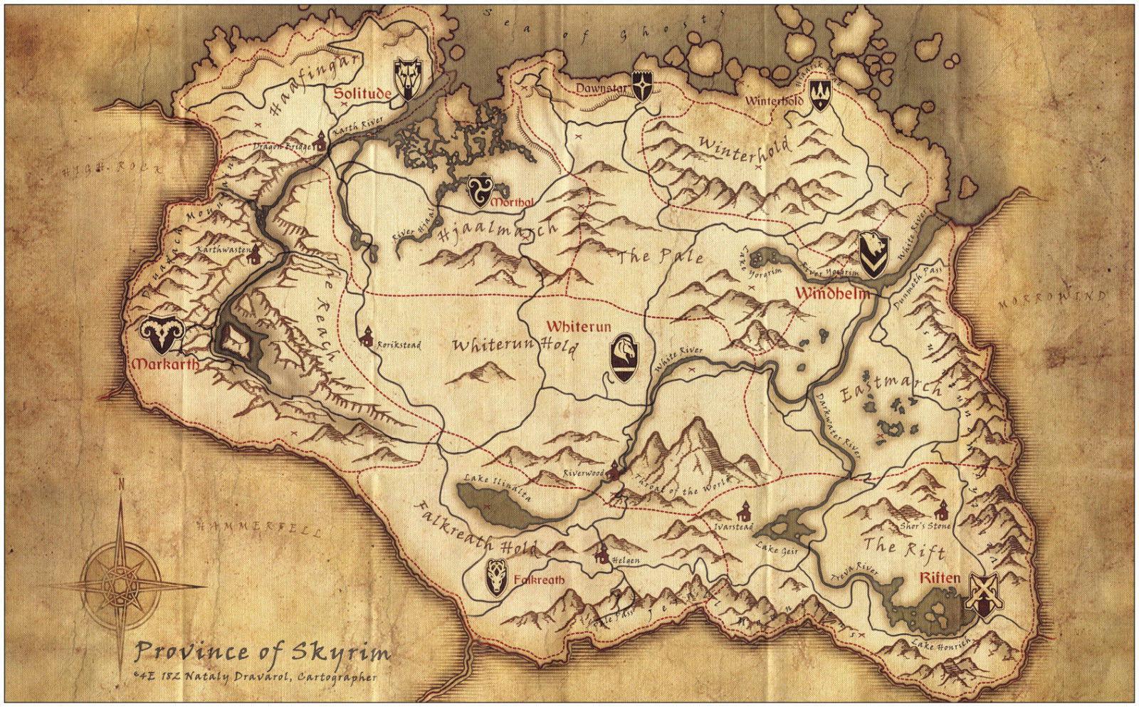 62918 Skyrim Elder Scrolls Map Decor Wall Print Poster | eBay