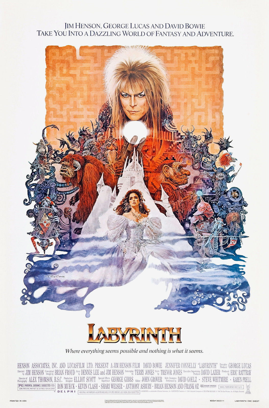 72230 Labyrinth 1986 Movie David Bowie Jim Henson Wall Print Poster AU