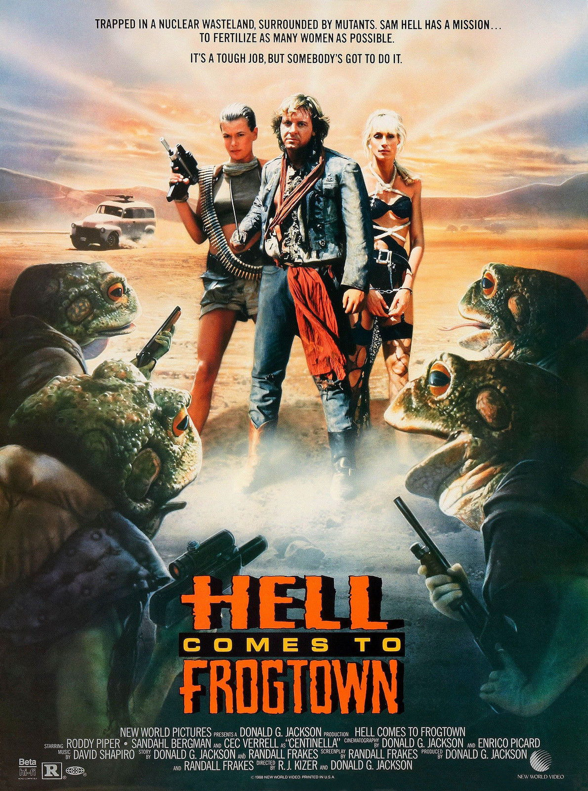 72522-HELL-COMES-TO-FROGTOWN-Sci-Fi-Rowdy-Roddy-Piper-FRAMED-CANVAS-PRINT-Toile
