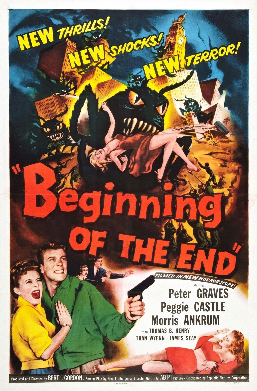 72784-BEGINNING-OF-THE-END-Movie-1957-Horror-Sci-Fi-FRAMED-CANVAS-PRINT-Toile