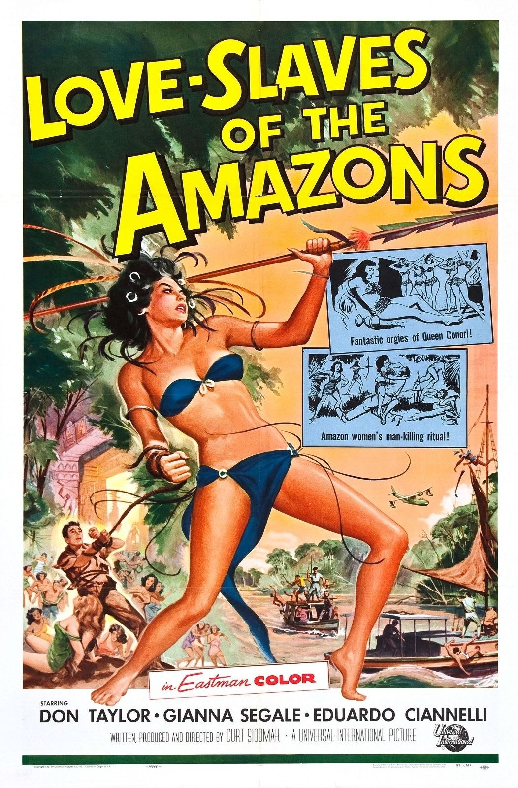 73534 Love Slaves of the Amazons 1957 Adventure Decor Wall P