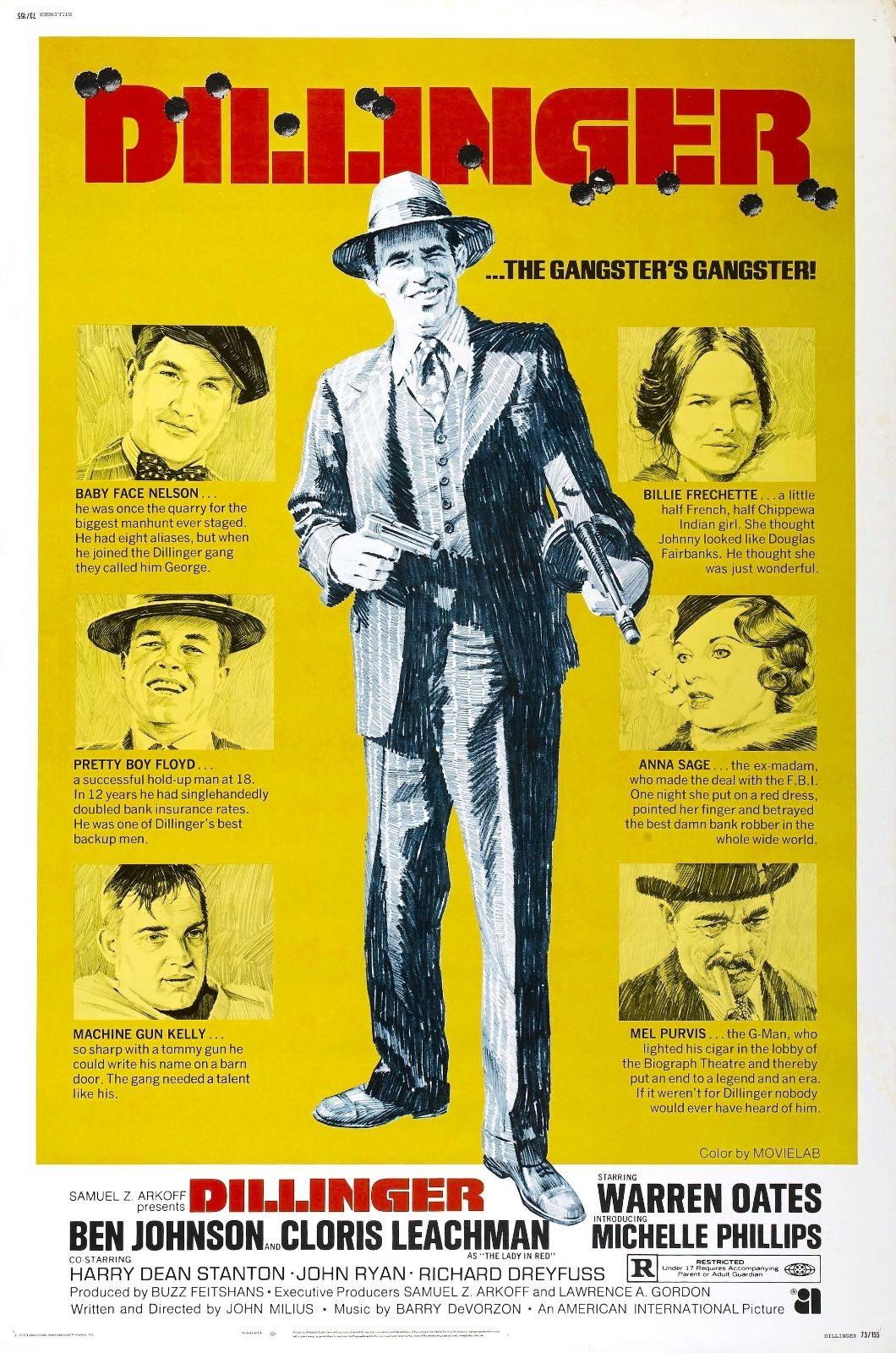 73581-Dillinger-Movie-1973-Thriller-Action-FRAMED-CANVAS-PRINT-Toile