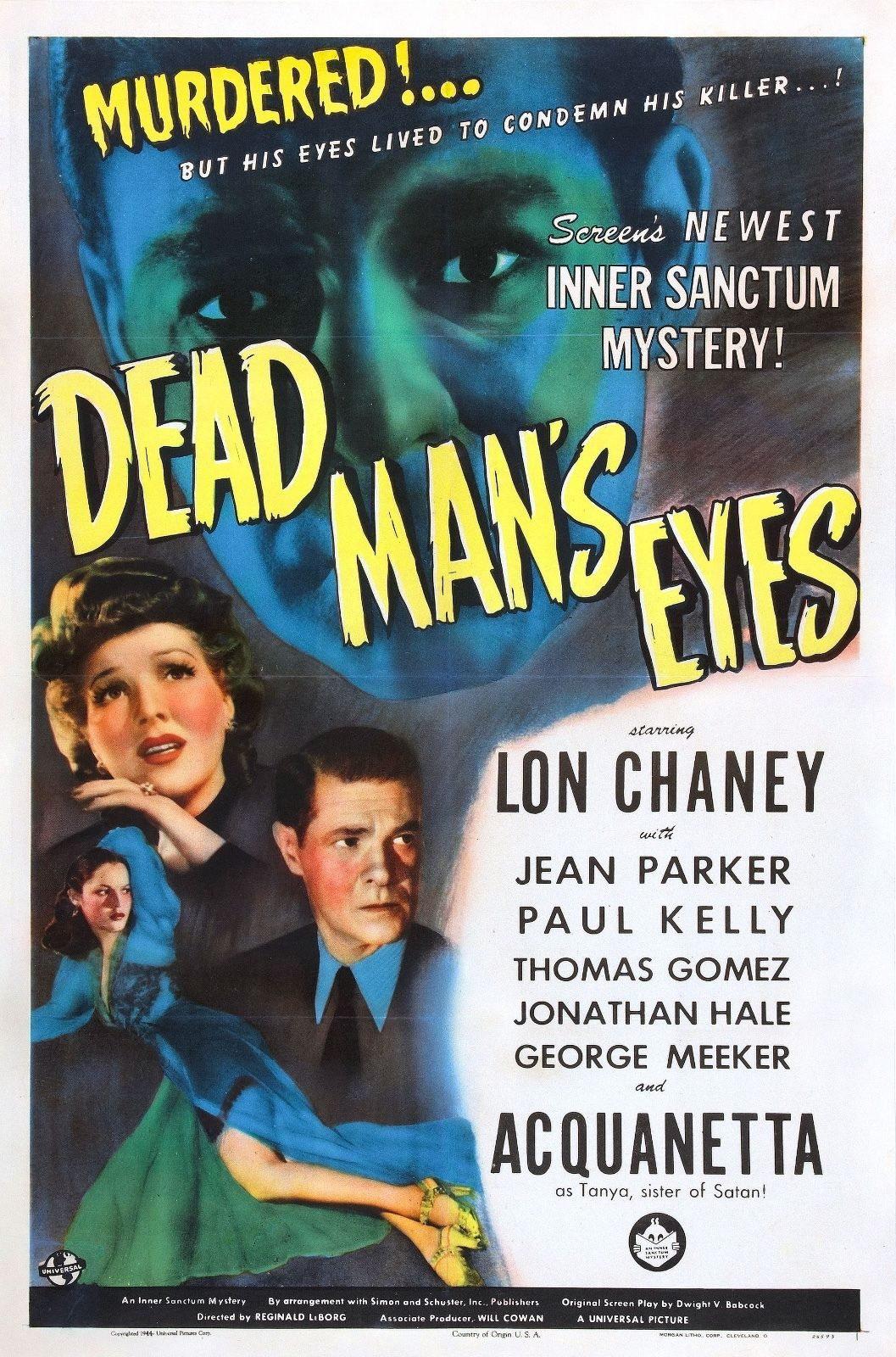 73621-Dead-Man-039-s-Eyes-Movie-1944-Mystery-FRAMED-CANVAS-PRINT-Toile