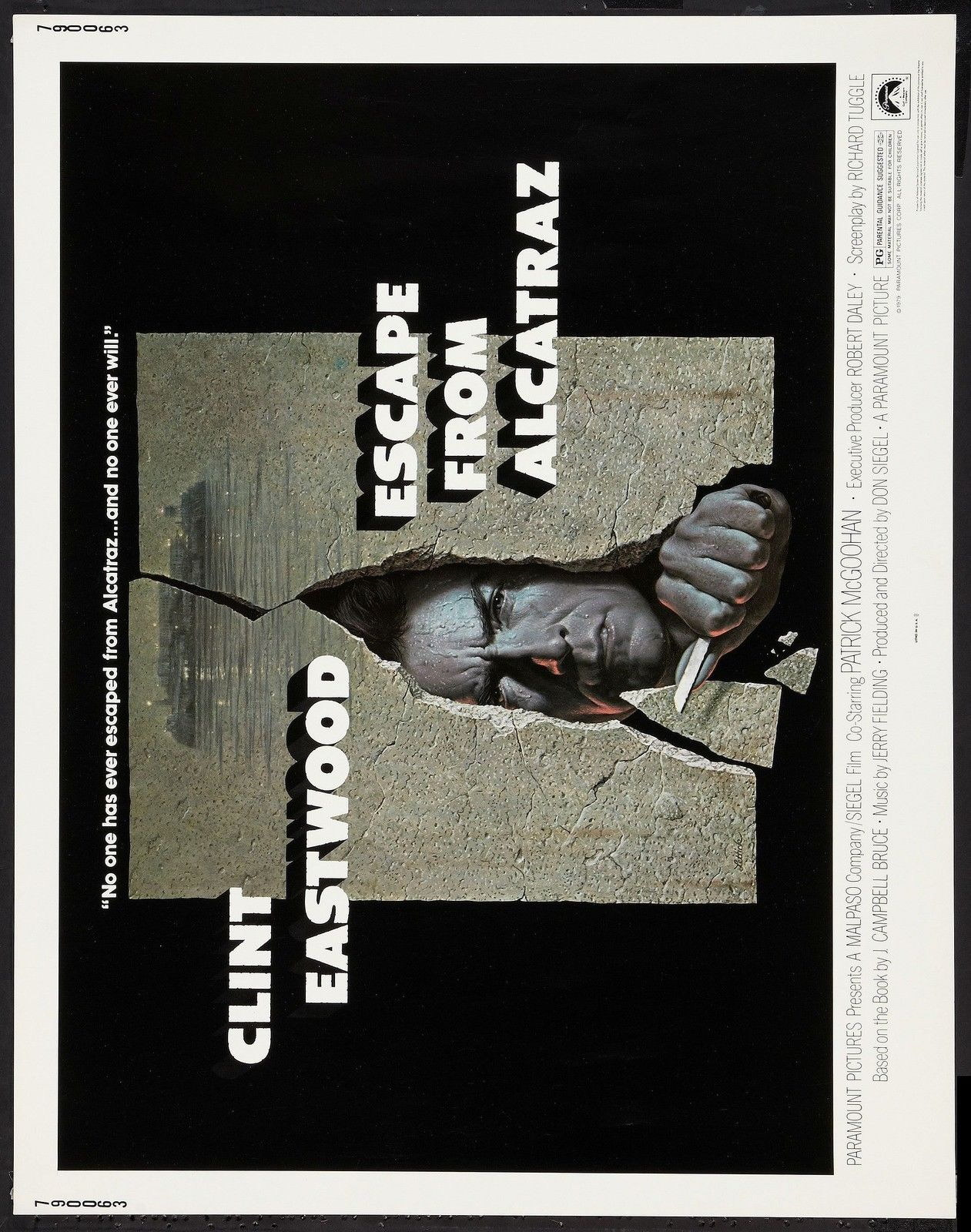 74199-ESCAPE-FROM-ALCATRAZ-Movie-Clint-Eastwood-RARE-FRAMED-CANVAS-PRINT-Toile