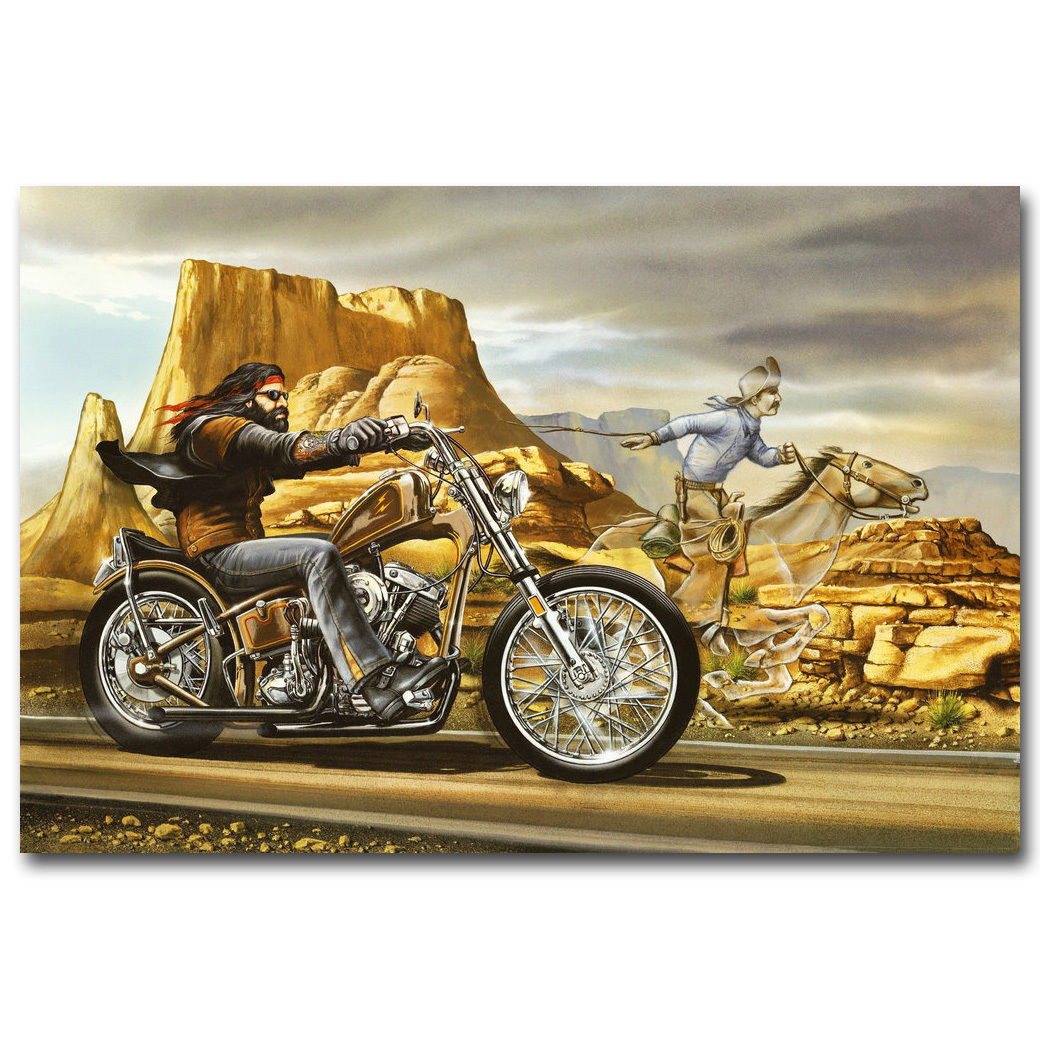 74669 ghost rider david mann cult biker art framed canvas print uk