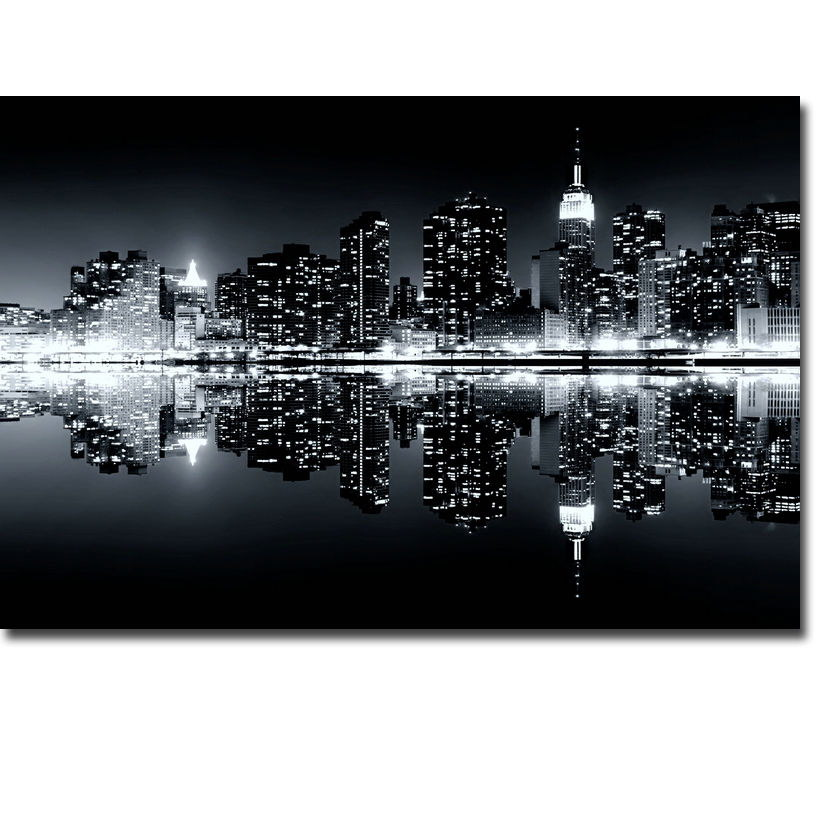 75425-New-York-City-Night-Black-White-Cityscape-Art-FRAMED-CANVAS-PRINT-AU