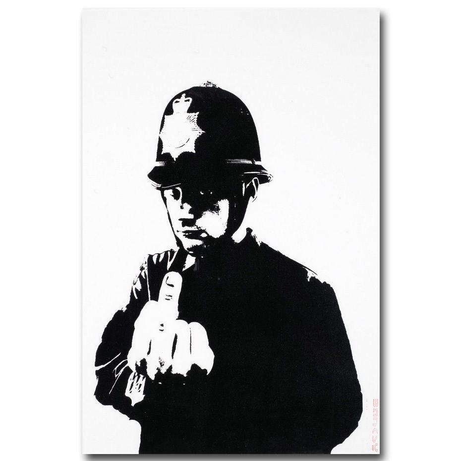 81082 Rude Copper Banksy Graffiti Street FRAMED CANVAS PRINT UK